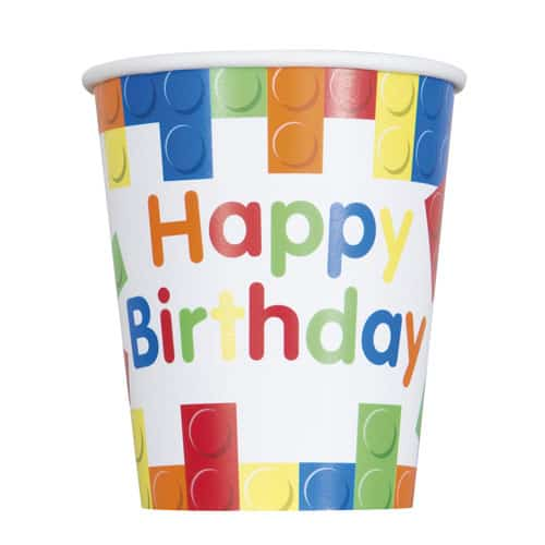Bouwstenen Happy Birthday Papieren Bekers 270Ml - Pak Van 8