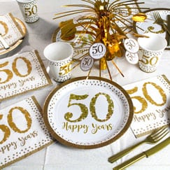 Sparkling Golden Anniversary Party Supplies