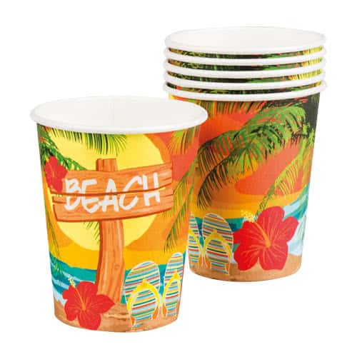 Beach Party Paper Cups 250ml - Pack of 6