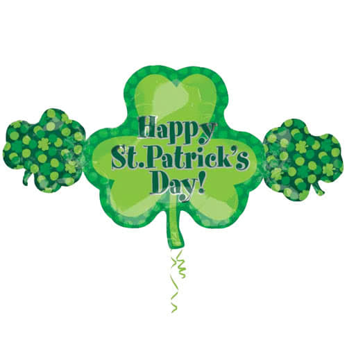 Happy St Patricks Day Shamrock Trio Heliumfolie Gigantische Ballon 96Cm / 38 In