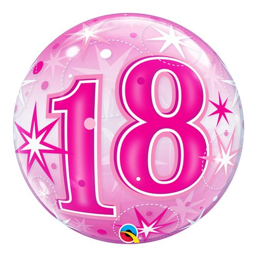 Nummer 18 Roze Starbust Sparkle Bubble Helium Qualatex Ballon 56Cm / 22 In
