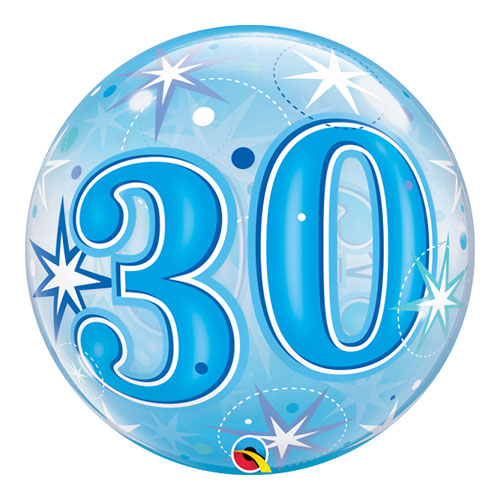 Nummer 30 Blauwe Starbust Sparkle Bubble Helium Qualatex Ballon 56Cm / 22 In