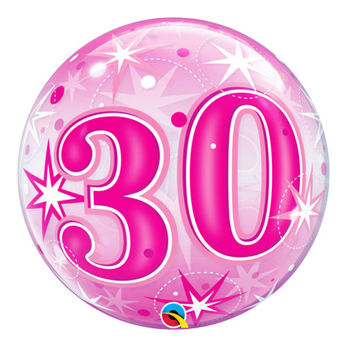 Nummer 30 Roze Starbust Sparkle Bubble Helium Qualatex Ballon 56Cm / 22 In