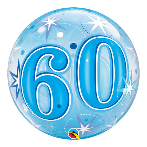 Nummer 60 Blauwe Starbust Sparkle Bubble Helium Qualatex Ballon 56Cm / 22 In