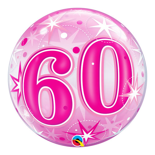 Nummer 60 Roze Starbust Sparkle Bubble Helium Qualatex Ballon 56Cm / 22 In