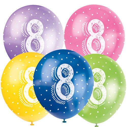 Age 8 Biodegradable Assorted Latex Balloons 30cm / 12 in - Pack of 5