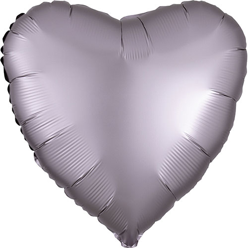 Greige Satin Luxe Heart Shape Foil Helium Balloon 43cm / 17 in