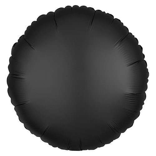 Onyx Black Satin Luxe Round Shape Foil Helium Balloon 43cm / 17 in