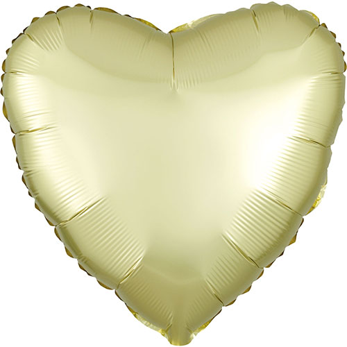 Pastel Yellow Satin Luxe Heart Shape Foil Helium Balloon 43cm / 17 in