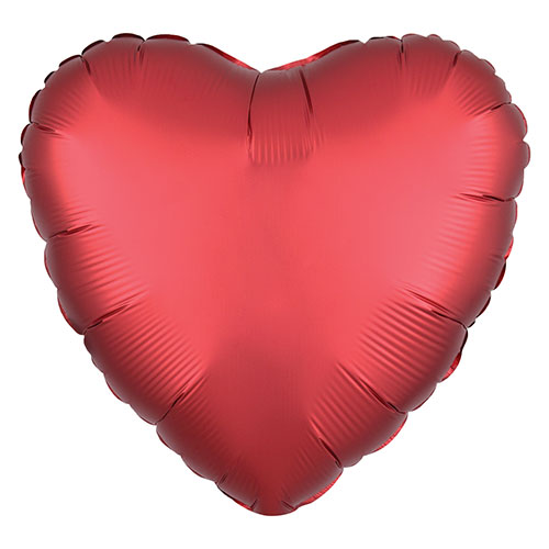 Sangria Red Satin Luxe Heart Shape Foil Helium Balloon 43cm / 17 in