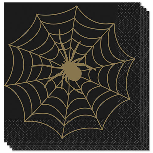 Gold Spider Web Halloween Luncheon Napkins 33cm 2Ply - Pack of 16