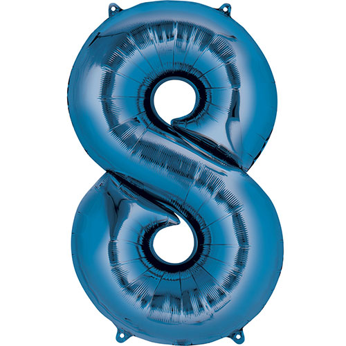 Blue Number 8 Air Fill Foil Balloon 40cm / 16 in