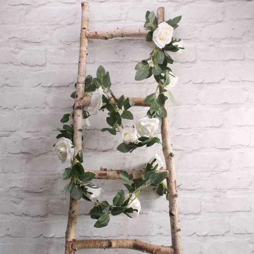 Cream Roses Artificial Silk Flowers Garland 175cm