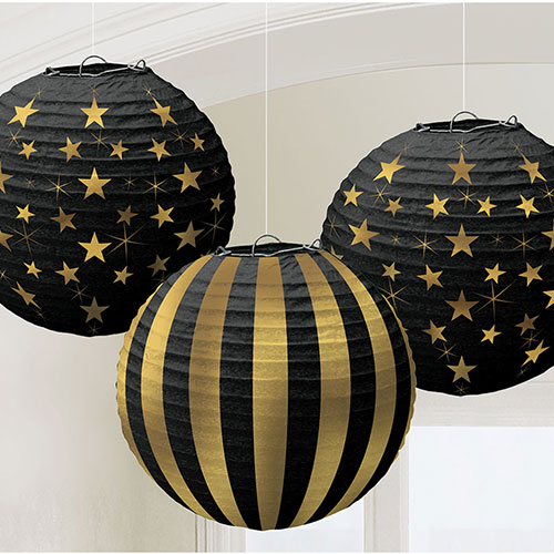 Hot Stamp Gold Glitz Paper Lanterns Hanging Decorations - Pack of 3