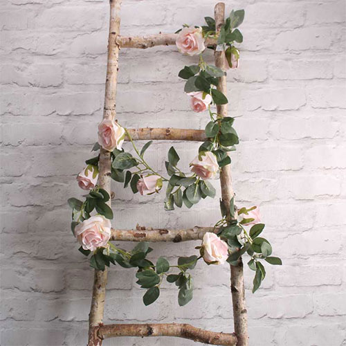 Light Pink Roses Artificial Silk Flowers Garland 175cm