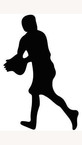 Rugby Player Ball Catch Silhouette PVC Lifesize Poster 182cm