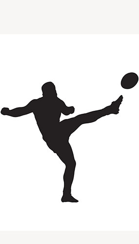 Rugby Player Ball Side Kick Silhouette PVC Lifesize Poster 182cm