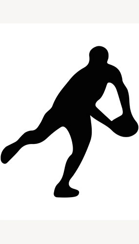 Rugby Player Ball Side Toss Silhouette PVC Lifesize Poster 182cm