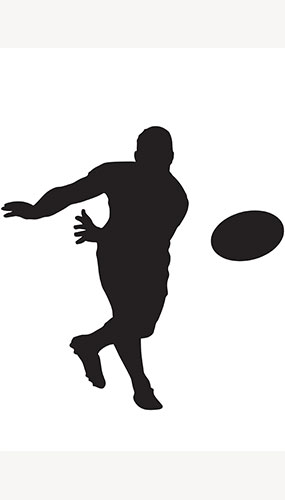 Rugby Player Ball Toss Silhouette PVC Lifesize Poster 182cm