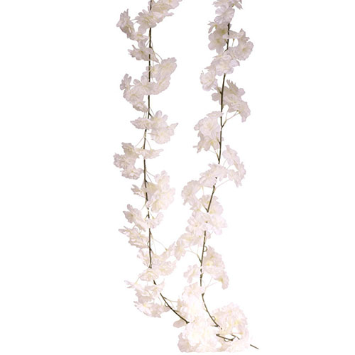 White Blossom Artificial Silk Flowers Garland 210cm