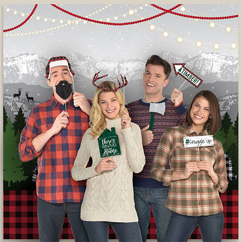 Christmas Cosy Holiday Scene Setters With Photo Booth Props Kit