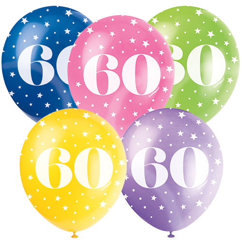Age 60 Biodegradable Assorted Latex Balloons 30cm / 12 in - Pack of 5