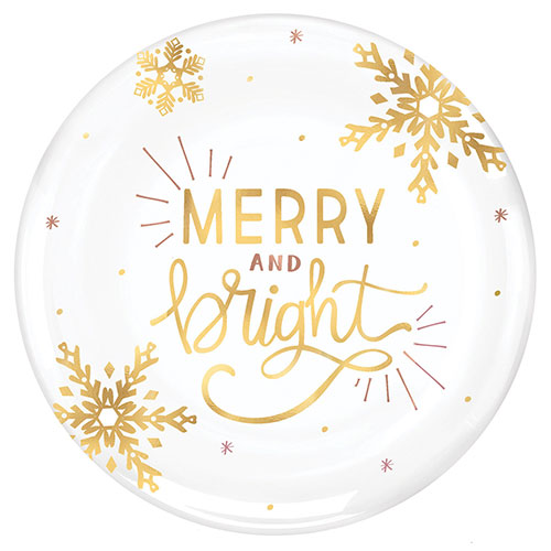 Christmas Merry And Bright Plastic Hot Stamped White Round Platter 35cm