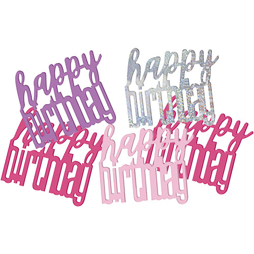Pink Glitz Happy Birthday Holographic Assorted Table Confetti 14 Grams