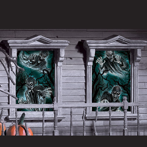 Haunted House Halloween Window Decorations 165cm - Pack of 2