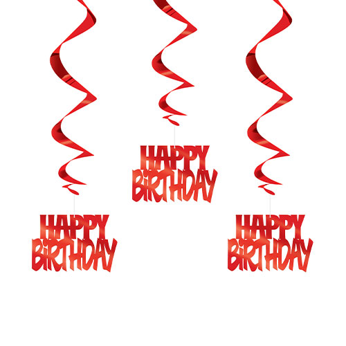 Rode Happy Birthday Script Hangende Swirl Decoraties - Pak Van 3