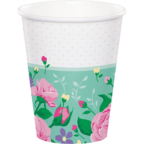 Floral Tea Party Papieren Bekers 266Ml - Pak Van 8