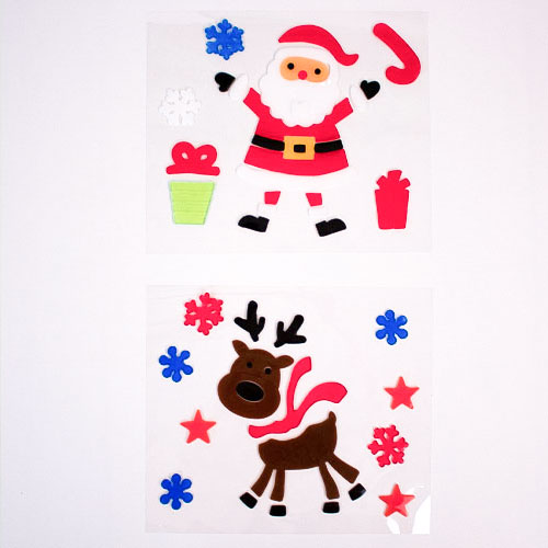 Geassorteerde Kerstman & Rendier Gel Stickers Raamdecoratie